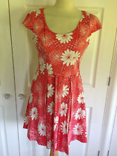 BNWT OASIS £50 stunning coral red & ivory print fit & flare knee length dress 12