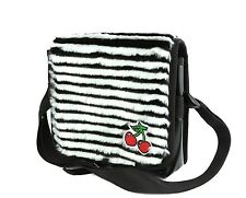 White Stripe Fur Cherry Bag Punk Goth Rockabilly Made in USA
