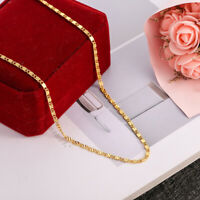 18K Gold Plated Women Men Cuban Hiphop Link Chain Choker Necklace Jewelry 2MM