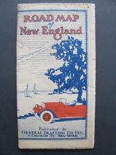 Vintage 1926 Road Map Of New England By General Drafting C New York NY