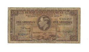 1937 BERMUDA 5 Shillings, P-8a Single Letter Prefix Type Only 240k Printed, KGVI