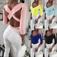 UK Women's T Shirt Casual Long Sleeve Pullover Backless Blouse Ladies Loose Tops