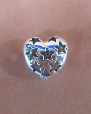 AUTHENTIC PANDORA STARRY HEART CHARM BEAD STERLING SILVER #791393 BRAND NEW LOVE