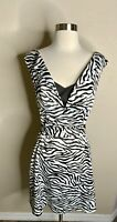 WHBM White House Black Market Women's Animal Zebra Print dress 4 Euc