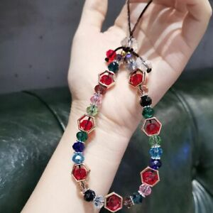 1Pc Artificial Crystal bracelet Strap Lanyard U Disk ID Work Card  Cell Phone