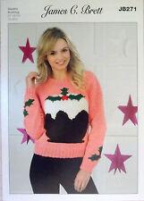"James Brett Christmas DK knitting pattern Ladies Jumper 32"" - 42""  JB 271"
