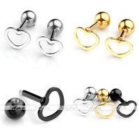 2x 16G Stainless Steel Heart Ear Cartilage Tragus Helix Stud Barbell Earrings