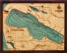 "CRYSTAL LAKE, MI  16"" x 20"" New, Laser-Cut 3-Dimen Wood Chart/Lake Art Map"