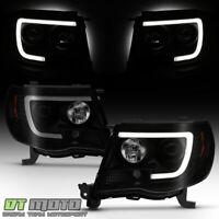For 2005-2011 Toyota Tacoma Black Smoked LED Tube Projector Headlights Headlamps