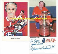 MAURICE & HENRI RICHARD Lot of (2) POSTCARDS Auto SIGNED Montreal Canadiens HOF