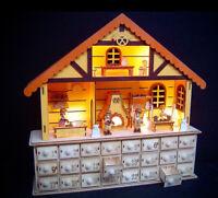 Sigro Holz Adventskalender zum selbst Befüllen mit LED Weihnachtsbäckerei Bäcker