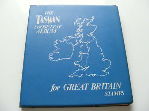 GB  Stamps  1934 - 1983 in Blue Tasman Loose Leaf Album  ( Approx  421 stamps )