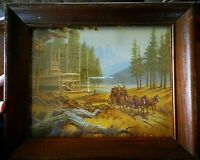 Vintage Framed Steamboat Stagecoach Horses Print Wood Frame Kitsch apx 12x10""