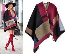 Premium Colour Block Check Cape Blanket Poncho Woven Wool Cashmere Celeb Runway