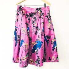 EShakti Floral print polydupioni skirt Womens Pink Plum Sheen Large