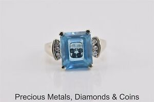 14k Yellow Gold Unique Diamonds In Blue Topaz Solitaire w/Accent Band Ring Sz: 8