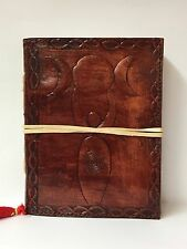 Handmade Leather Book of Shadows ~Handmade Paper ~ Brown Goddess & Triple Moon