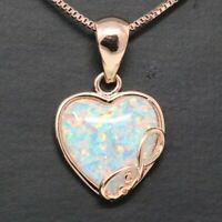 "3 Ct Heart Australian Opal Pendant Necklace 18"" Chain 14K Rose Gold Plated Gift"