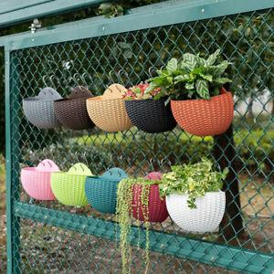 Fence Hanging Flowers Planter Plant Pots Bucket Rattan Home Garden Wall Decor