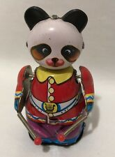 Vintage Windup Drumming Panda #309 MS 566 Tin Toy Red Purple Works China 4 1/4""