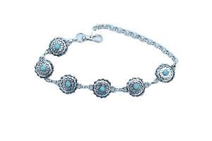 Femme Argent Bottes Chaîne Boho Ouest Bracelet Chaussure Fleur Charme Turquoise