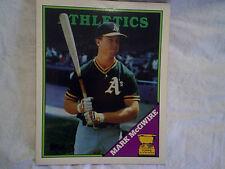 1988 MARK McGWIRE TWO POCKET TOPPS FOLDER Oakland Athletics A's,baseball,mlb