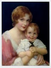 J. KNOWLES HARE ANTIQUE VINTAGE PRINT OF BLOND HAIRED MOTHER AND LITTLE BOY