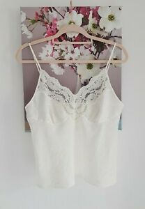 Vintage St Michael Ivory Floral Lace Camisole Top, Size UK 12-14 Immaculate