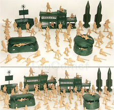 56 pcs Military Missile Base Model Playset Toy Soldier Tan 5cm Figure Army Men