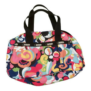 LeSportsac Tote Shoulder Bag Multicolored Floral Overnight Travel Gym Duffle