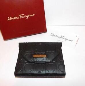 SALVATORE FERRAGAMO Nero Pebble Calf Ladies Purse & Credit Card Holder BNIB