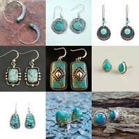 Vintage Silver Plated Turquoise Wedding Engagement Jewelry Drop Dangle Earrings