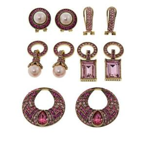 """HEIDI DAUS Amazing """"Sparkling Solution"""" Crystal-Accented Earring Set Pink Color"""