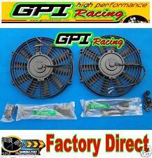 "2 × 16"" inch Universal Electric Radiator RACING COOLING Fan +mounting kit new"