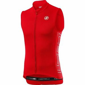 Castelli Bicycle Cycle Bike Entrata V Sleeveless Jersey Fiery Red