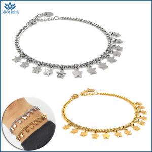 Bracciale da donna con ciondoli maglia stella stelline acciaio inox braccialetto