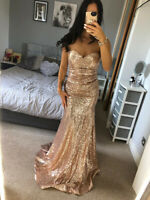 Goddiva Strapless Gold Sequin Ruched Dodice Dress Ball Gown Long Maxi Evening UK