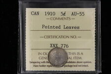 """1910 Canada. 5 Cents. """"Pointed Leaves"""" ICCS Graded AU-55 (XNX776)"""