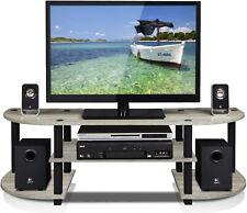 Low TV Stand Wide Entertainment Center Modern Living Room Shelves - Grey