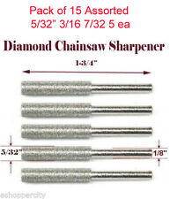 "15x 5/32"" 3/16 7/32 Diamond Chainsaw Sharpener Burr Stone Round File 1/8"" Shank"