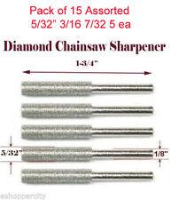"15x 5/32"" 3/16 7/32 Diamond Chainsaw Sharpener Burr Stone Round File 1/8"" Shank"