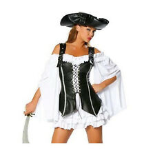 Ladies Pirate Costume Adults Captain Buccaneer Fancy Dress Halloween Outfit