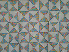 Unfinished Quilt Top-Hour Glass, Turquoise, Pink, Yellow, approx 56 x 83