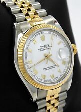 ROLEX DATEJUST JUBILEE TWO TONE 18K YELLOW GOLD & SS WHITE ROMAN DIAL 16013