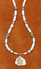 NECKLACE TURQUOISE NUGGETS GENUINE GEMSTONE CARVED PENDENT SILVER HEISHE BEAD