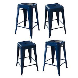 AmeriHome BS24BLUESET Loft Blue 24 Inch Metal Bar Stool - 4 Piece