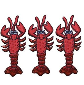 """Red Lobster Applique Patch - Crawfish, Seafood Badge 2"""" (3-Pack, Iron on)"""