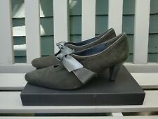 Van Dal, Dark Grey Suede Leather Heels With Bow, Size 6.5