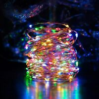 Solar 100LED Powered Rope Copper Wire String Fairy Strips Lights Outdoor Garden