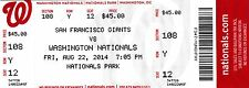 2014 WASHINGTON NATIONALS VS SF GIANTS TICKET STUB 8/22/14 JOE PANIK HR #1 MLB